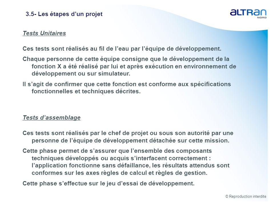 © Reproduction interdite 3.5- Les étapes dun projet Tests Unitaires Ces tests sont réalisés au fil de leau par léquipe de développement. Chaque person
