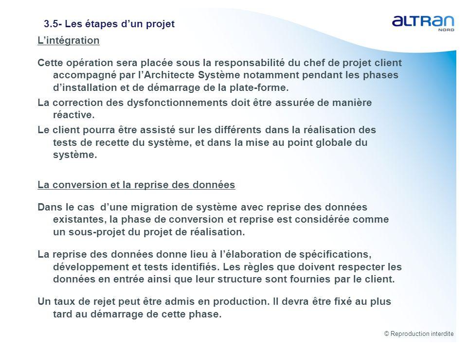 © Reproduction interdite 3.5- Les étapes dun projet Lintégration Cette opération sera placée sous la responsabilité du chef de projet client accompagn