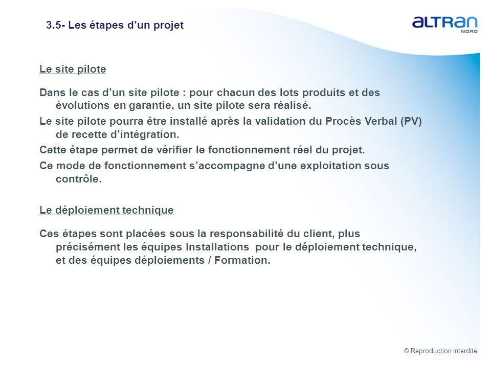 © Reproduction interdite 3.5- Les étapes dun projet Le site pilote Dans le cas dun site pilote : pour chacun des lots produits et des évolutions en ga
