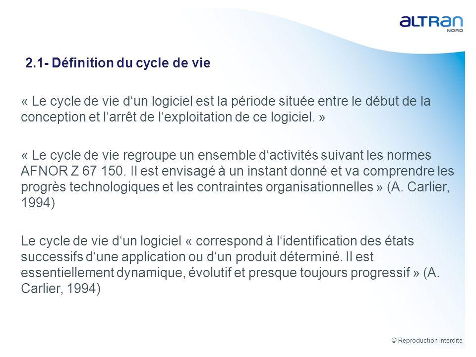 © Reproduction interdite « Le cycle de vie dun logiciel est la période située entre le début de la conception et larrêt de lexploitation de ce logicie