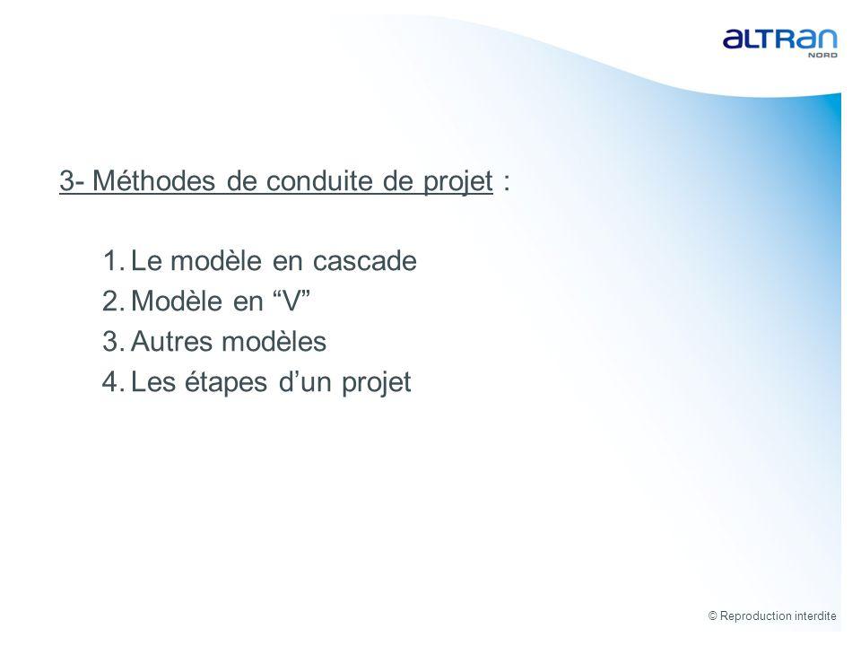 © Reproduction interdite 3.5- Les étapes dun projet Tests Unitaires Ces tests sont réalisés au fil de leau par léquipe de développement.