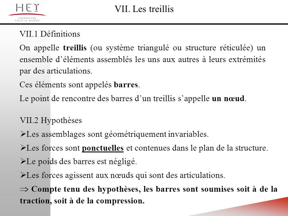 VII. Les treillis VII.1 Définitions On appelle treillis (ou système triangulé ou structure réticulée) un ensemble déléments assemblés les uns aux autr