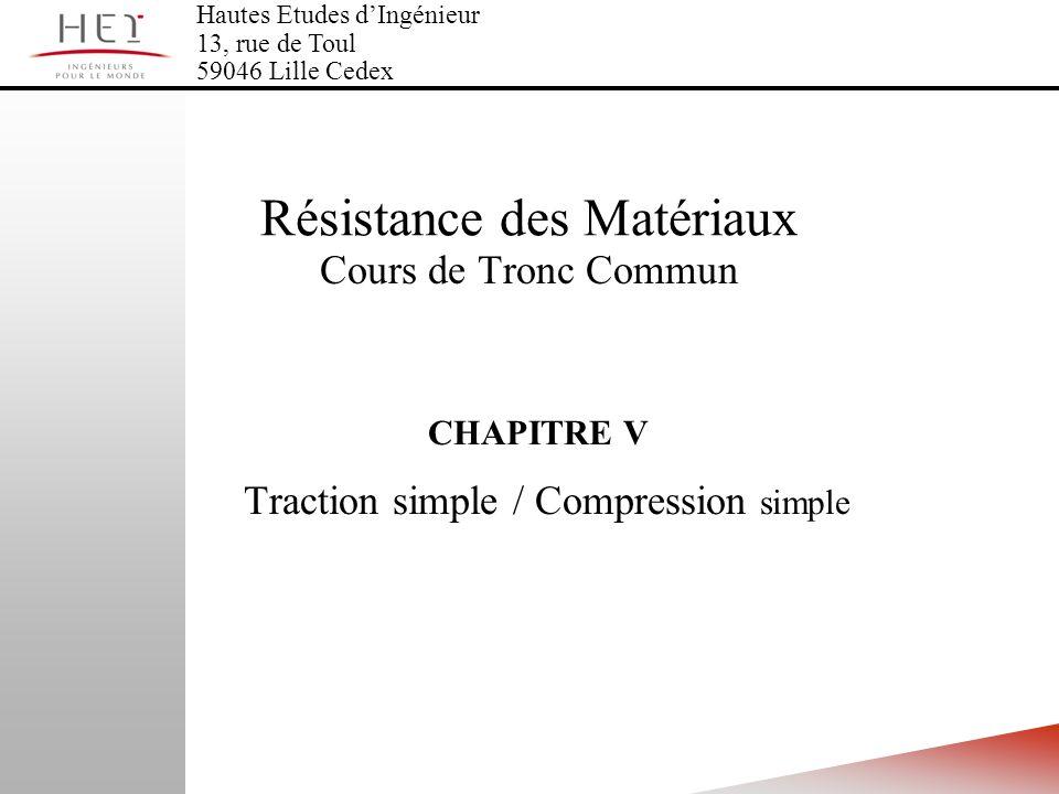 CHAPITRE V Traction simple / Compression simple Hautes Etudes dIngénieur 13, rue de Toul 59046 Lille Cedex Résistance des Matériaux Cours de Tronc Com