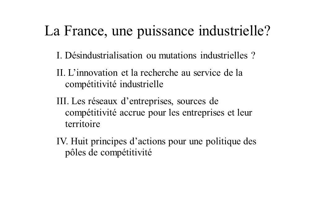 La France, une puissance industrielle? I. Désindustrialisation ou mutations industrielles ? II. Linnovation et la recherche au service de la compétiti