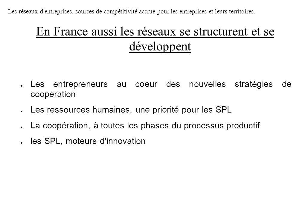 Les entrepreneurs au coeur des nouvelles stratégies de coopération Les ressources humaines, une priorité pour les SPL La coopération, à toutes les pha