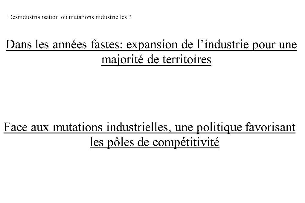 Désindustrialisation ou mutations industrielles ? Dans les années fastes: expansion de lindustrie pour une majorité de territoires Face aux mutations