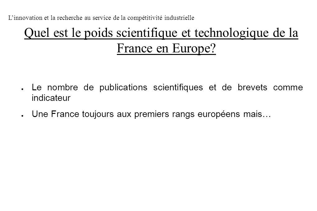 Le nombre de publications scientifiques et de brevets comme indicateur Une France toujours aux premiers rangs européens mais… Linnovation et la recher