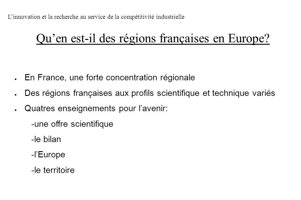 En France, une forte concentration régionale Des régions françaises aux profils scientifique et technique variés Quatres enseignements pour lavenir: -