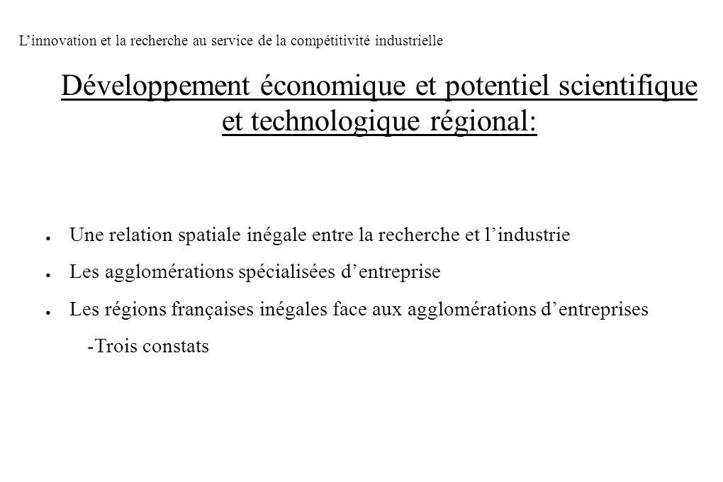 Une relation spatiale inégale entre la recherche et lindustrie Les agglomérations spécialisées dentreprise Les régions françaises inégales face aux ag