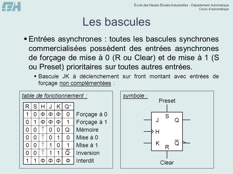 École des Hautes Études Industrielles - Département Automatique Cours dautomatique Les bascules Entrées asynchrones : toutes les bascules synchrones c