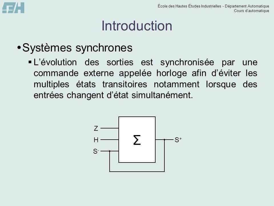 École des Hautes Études Industrielles - Département Automatique Cours dautomatique Introduction Systèmes synchrones Lévolution des sorties est synchro