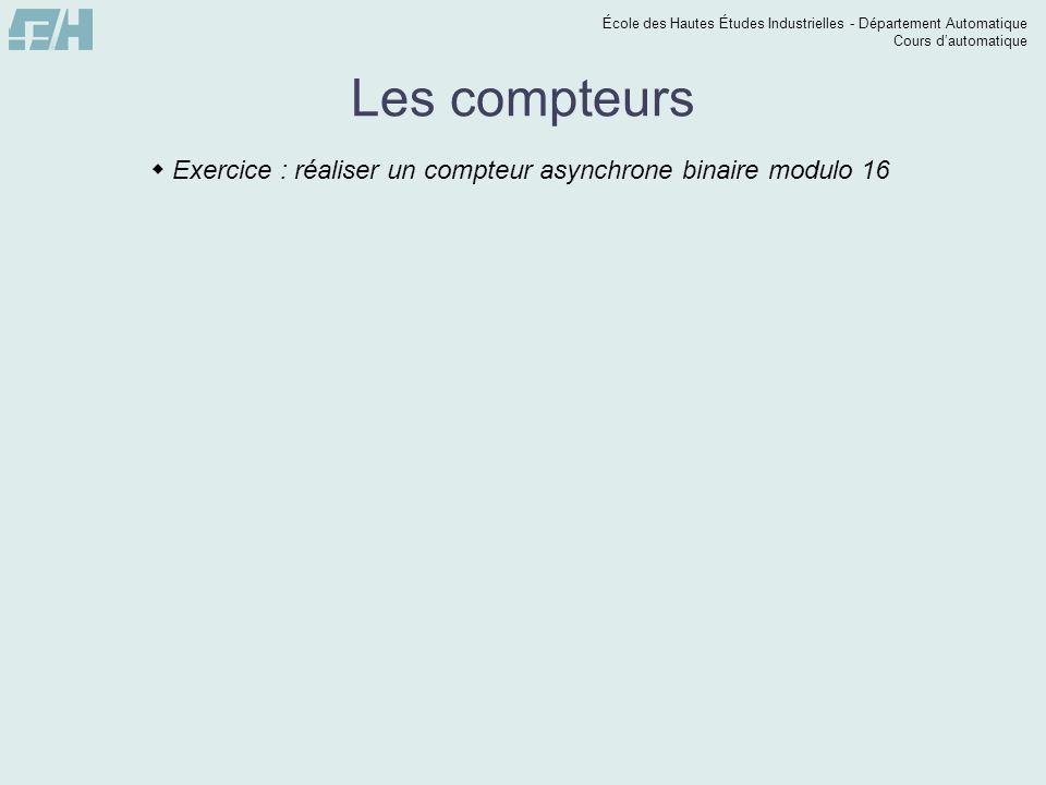 École des Hautes Études Industrielles - Département Automatique Cours dautomatique Les compteurs Exercice : réaliser un compteur asynchrone binaire mo
