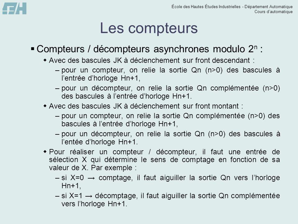 École des Hautes Études Industrielles - Département Automatique Cours dautomatique Les compteurs Compteurs / décompteurs asynchrones modulo 2 n : Avec