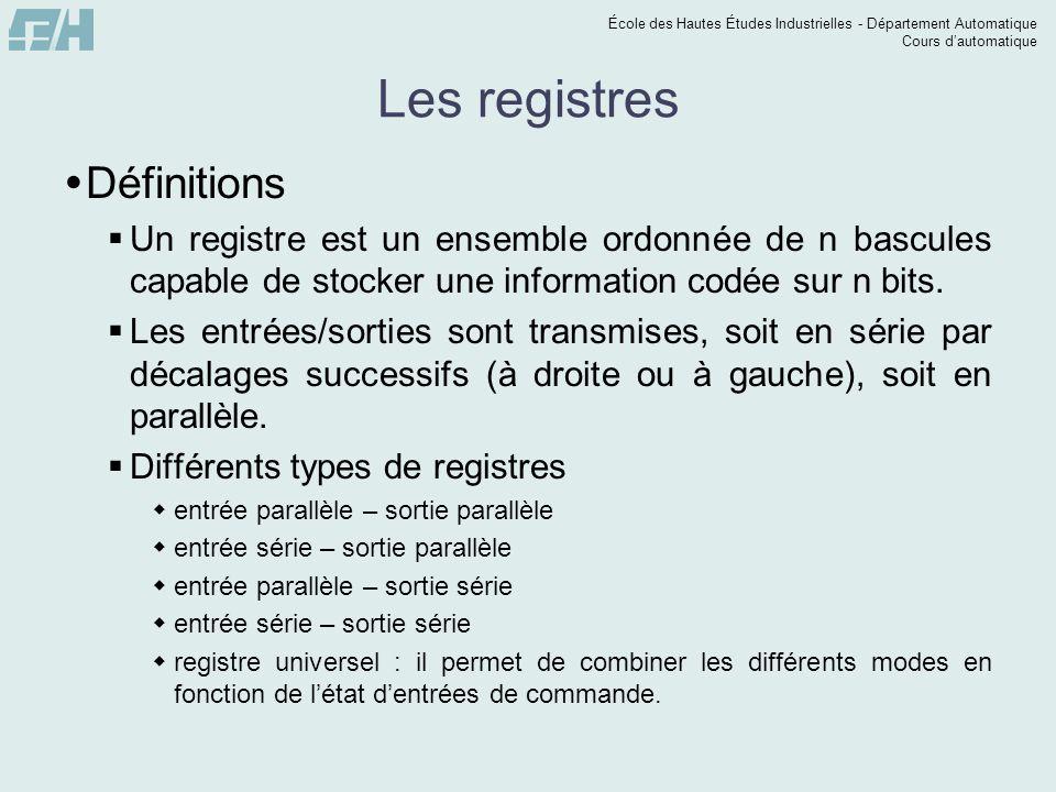 École des Hautes Études Industrielles - Département Automatique Cours dautomatique Les registres Définitions Un registre est un ensemble ordonnée de n