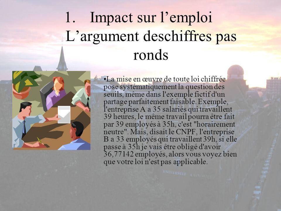 1.Impact sur lemploi Largument deschiffres pas ronds La mise en œuvre de toute loi chiffrée pose systématiquement la question des seuils, même dans l'