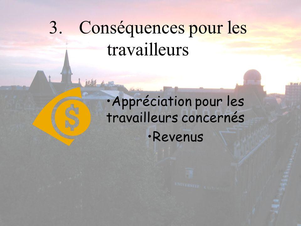 3.Conséquences pour les travailleurs Appréciation pour les travailleurs concernés Revenus