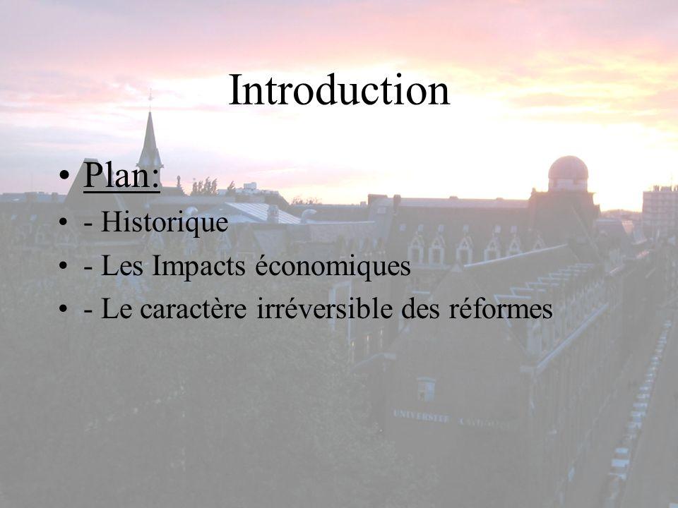 Introduction Plan: - Historique - Les Impacts économiques - Le caractère irréversible des réformes