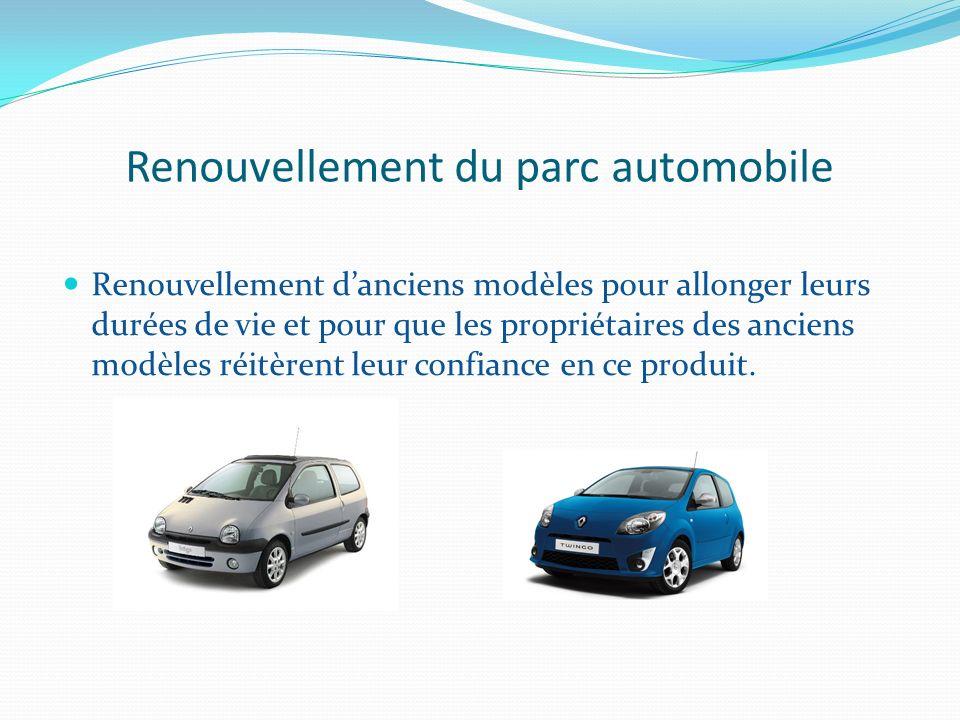 Renouvellement du parc automobile Renouvellement danciens modèles pour allonger leurs durées de vie et pour que les propriétaires des anciens modèles réitèrent leur confiance en ce produit.