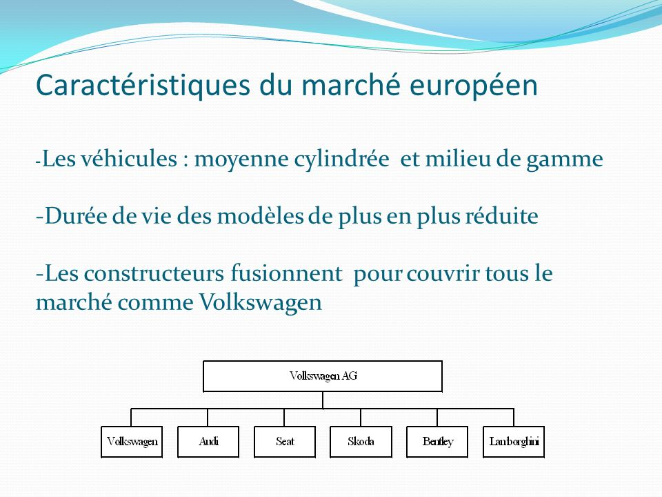 Caractéristiques du marché européen - Les véhicules : moyenne cylindrée et milieu de gamme -Durée de vie des modèles de plus en plus réduite -Les constructeurs fusionnent pour couvrir tous le marché comme Volkswagen