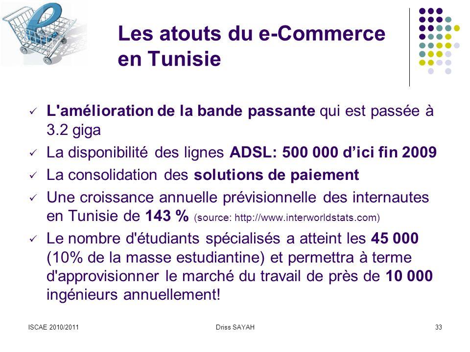 ISCAE 2010/2011Driss SAYAH33 Les atouts du e-Commerce en Tunisie L amélioration de la bande passante qui est passée à 3.2 giga La disponibilité des lignes ADSL: 500 000 dici fin 2009 La consolidation des solutions de paiement Une croissance annuelle prévisionnelle des internautes en Tunisie de 143 % (source: http://www.interworldstats.com) Le nombre d étudiants spécialisés a atteint les 45 000 (10% de la masse estudiantine) et permettra à terme d approvisionner le marché du travail de près de 10 000 ingénieurs annuellement!