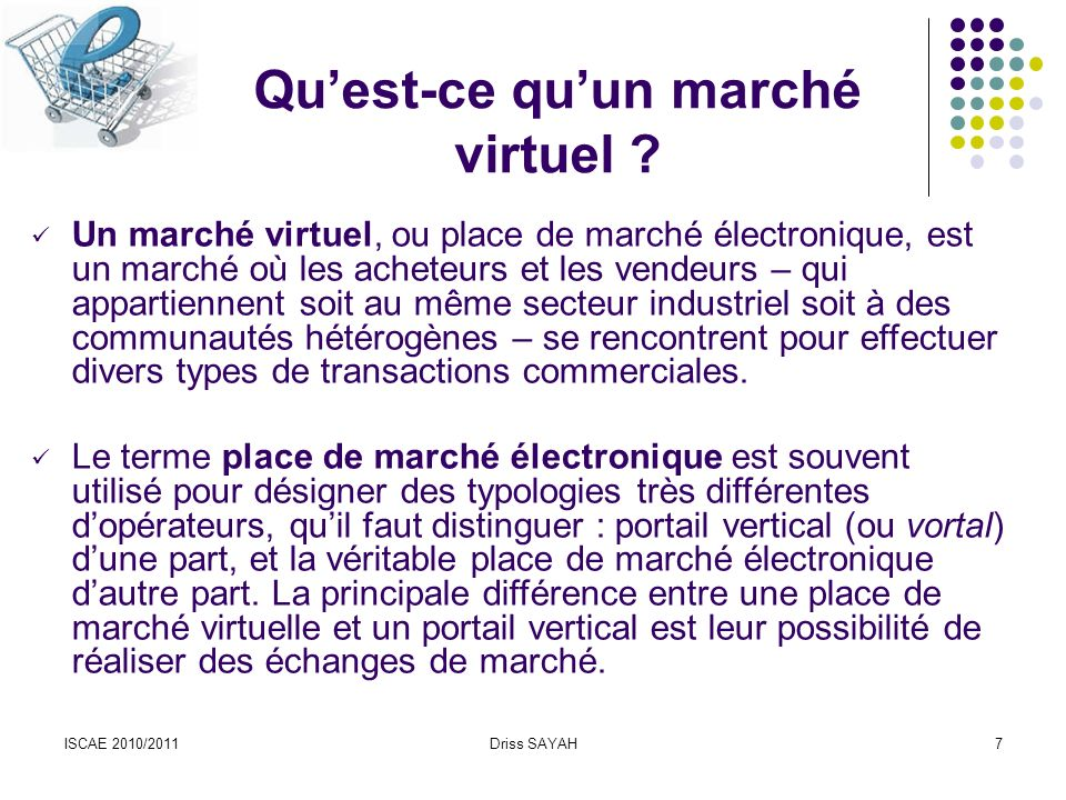 ISCAE 2010/2011Driss SAYAH7 Quest-ce quun marché virtuel .