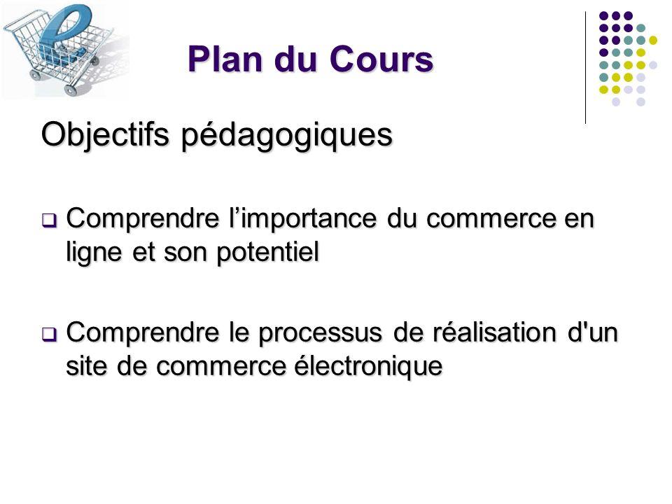 Plan du Cours Objectifs pédagogiques Comprendre limportance du commerce en ligne et son potentiel Comprendre limportance du commerce en ligne et son p
