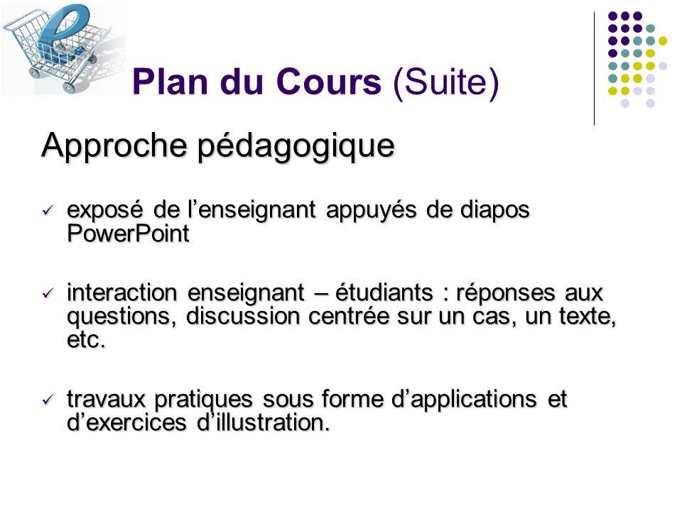 Plan du Cours (Suite) Approche pédagogique exposé de lenseignant appuyés de diapos PowerPoint exposé de lenseignant appuyés de diapos PowerPoint inter