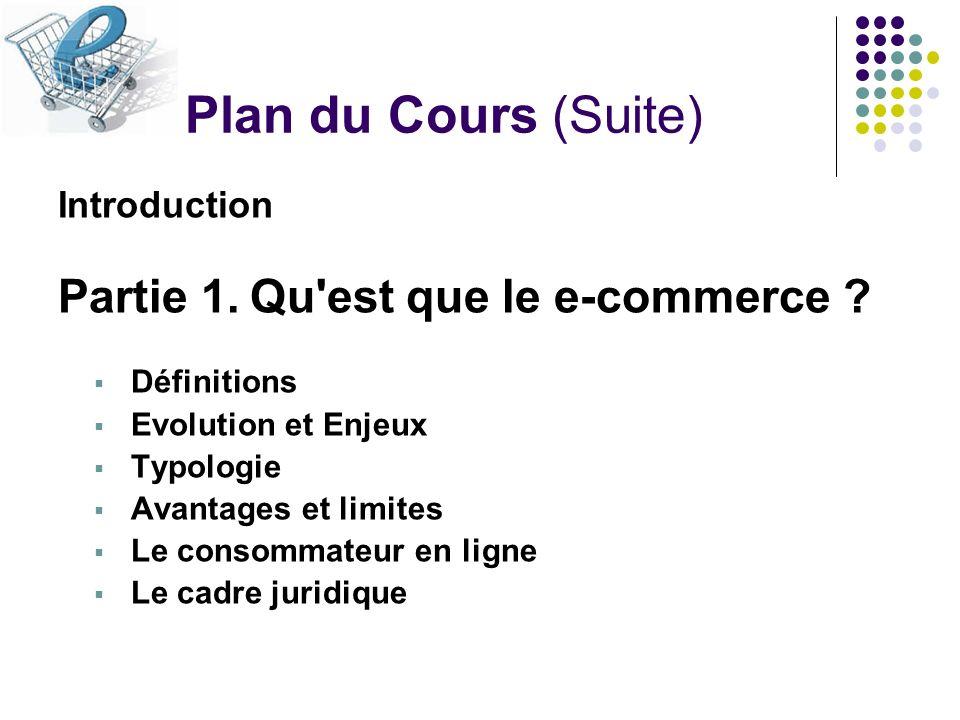 Plan du Cours (Suite) Introduction Partie 1.Qu'est que le e-commerce ? Définitions Evolution et Enjeux Typologie Avantages et limites Le consommateur