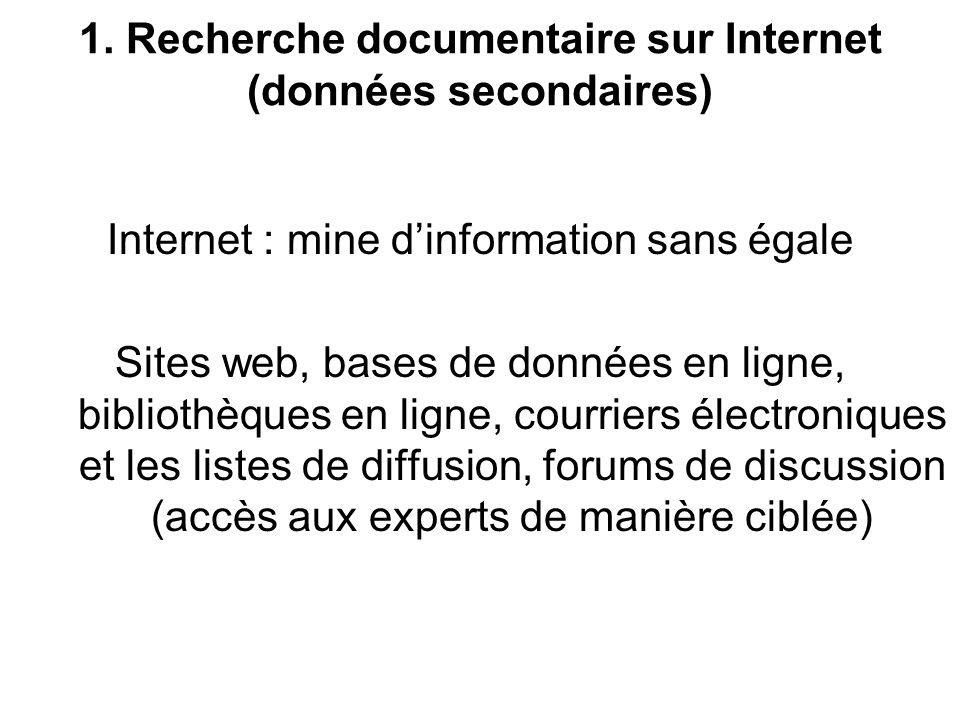 II. Études et recherche marketing par Internet 1. Recherche documentaire sur Internet 2. Étude qualitative par Internet 3. Étude quantitative par Inte