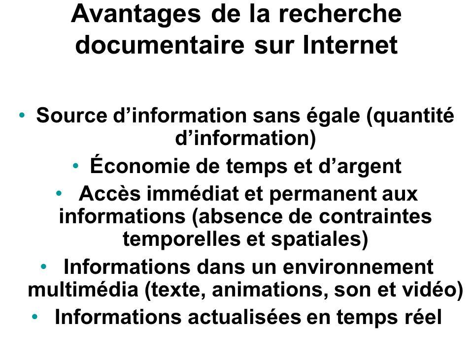 1. Recherche documentaire sur Internet (données secondaires) Internet : mine dinformation sans égale Sites web, bases de données en ligne, bibliothèqu