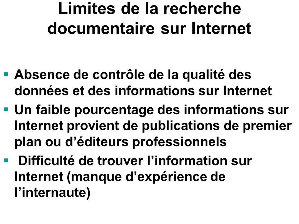 Avantages de la recherche documentaire sur Internet Source dinformation sans égale (quantité dinformation) Économie de temps et dargent Accès immédiat