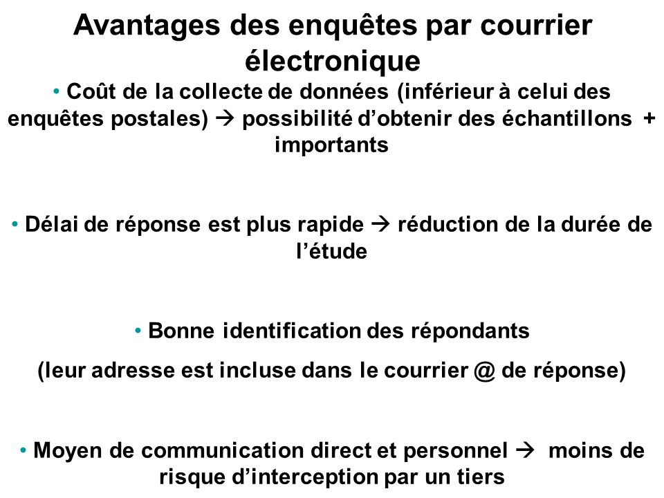 Exemple denquête par courrier électronique en texte simple