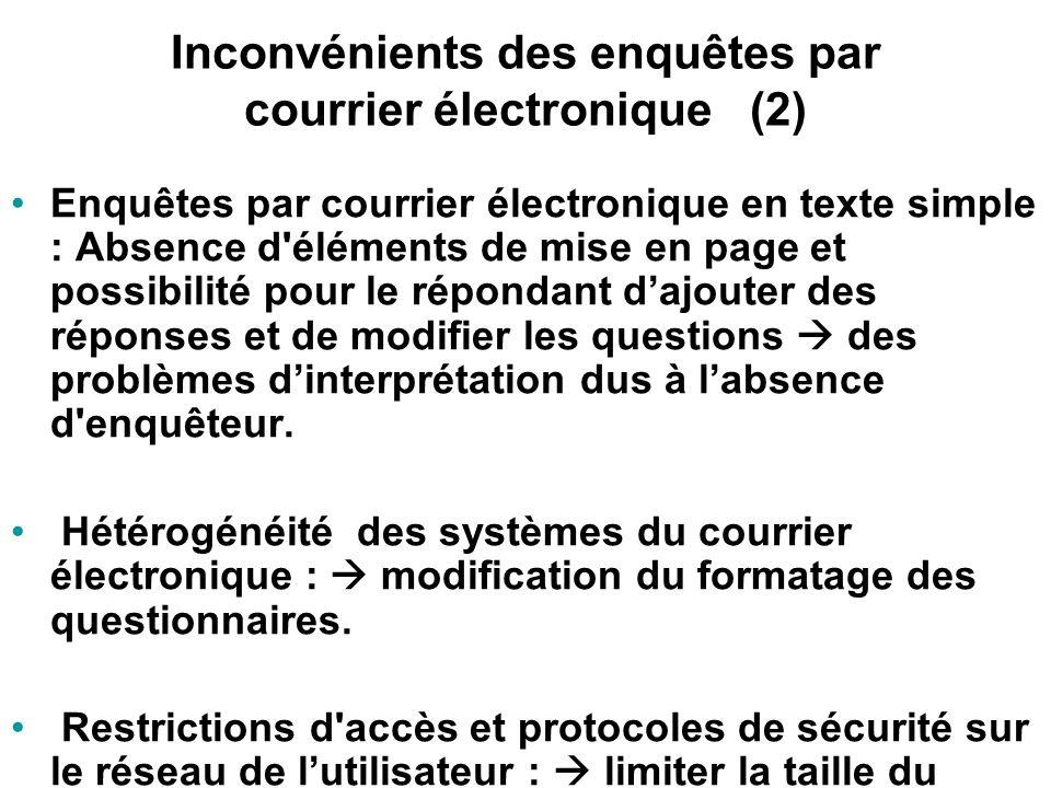 Inconvénients des enquêtes par courrier électronique (1) Représentativité des résultats (accès à lInternet nest pas encore généralisé) Problèmes liés