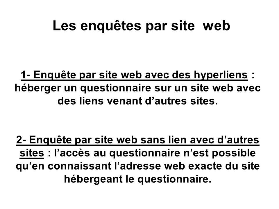 Inconvénients des enquêtes par courrier électronique (2) Enquêtes par courrier électronique en texte simple : Absence d'éléments de mise en page et po