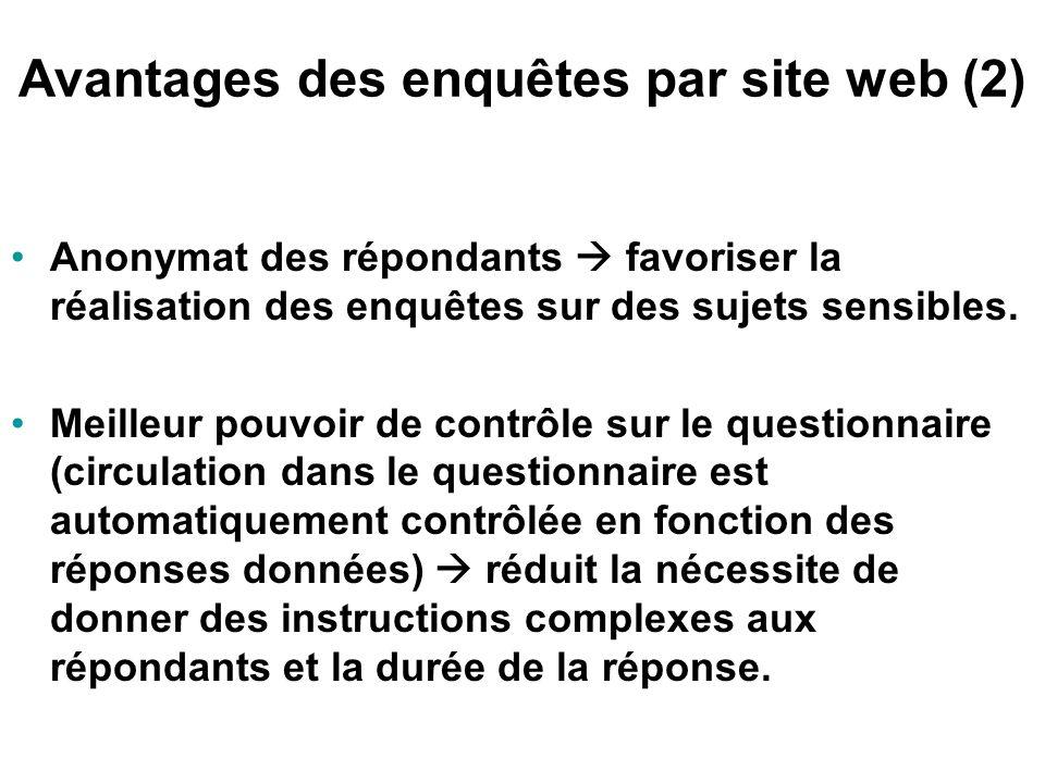 Avantages des enquêtes par site web (1) Coûts avantageux. Enregistrement automatisé des données collectées. Affichage des résultats d'enquête en temps