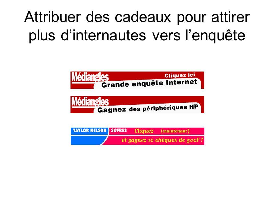 Questionnaire « pensé » Web : + grande brièveté et un nombre réduit de question (max 20 questions)