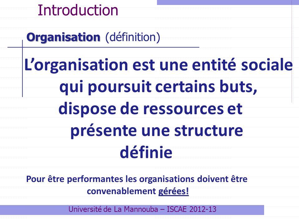 Lorganisation est une entité sociale qui poursuit certains buts, dispose de ressources et présente une structure définie Pour être performantes les or