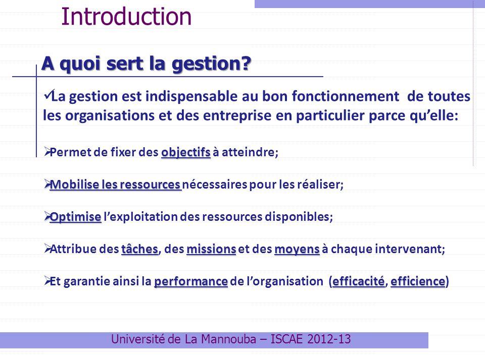 A quoi sert la gestion? Introduction La gestion est indispensable au bon fonctionnement de toutes les organisations et des entreprise en particulier p
