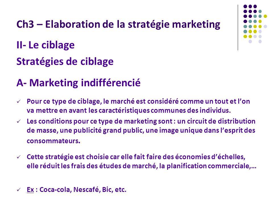 Ch3 – Elaboration de la stratégie marketing II- Le ciblage Stratégies de ciblage A- Marketing indifférencié Pour ce type de ciblage, le marché est considéré comme un tout et lon va mettre en avant les caractéristiques communes des individus.