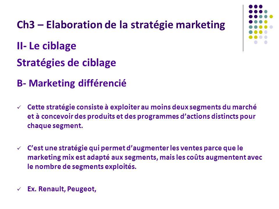 Ch3 – Elaboration de la stratégie marketing II- Le ciblage Stratégies de ciblage B- Marketing différencié Cette stratégie consiste à exploiter au moins deux segments du marché et à concevoir des produits et des programmes dactions distincts pour chaque segment.
