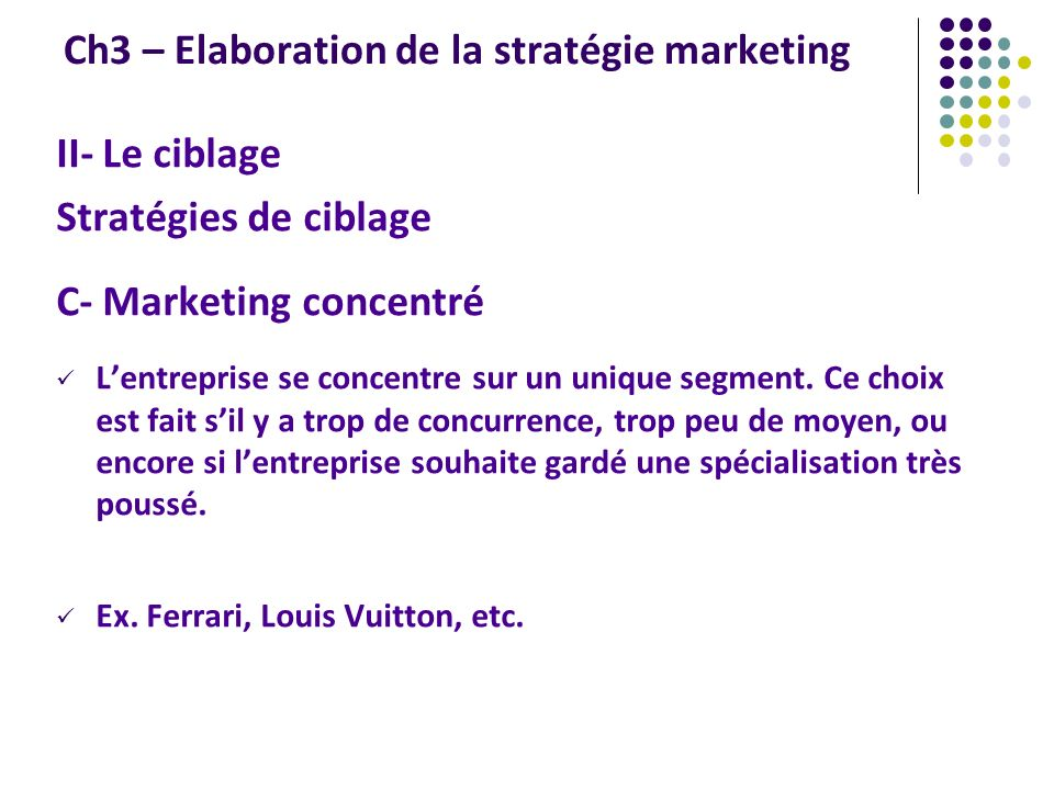 Ch3 – Elaboration de la stratégie marketing II- Le ciblage Stratégies de ciblage C- Marketing concentré Lentreprise se concentre sur un unique segment