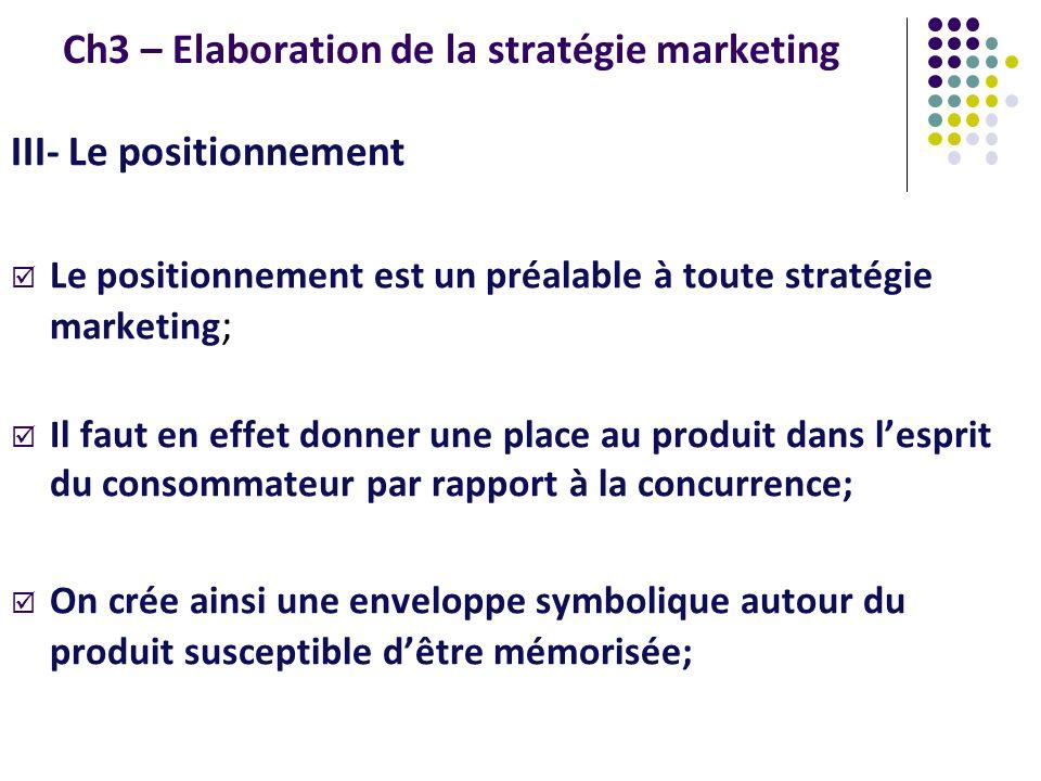 Ch3 – Elaboration de la stratégie marketing III- Le positionnement Le positionnement est un préalable à toute stratégie marketing ; Il faut en effet d