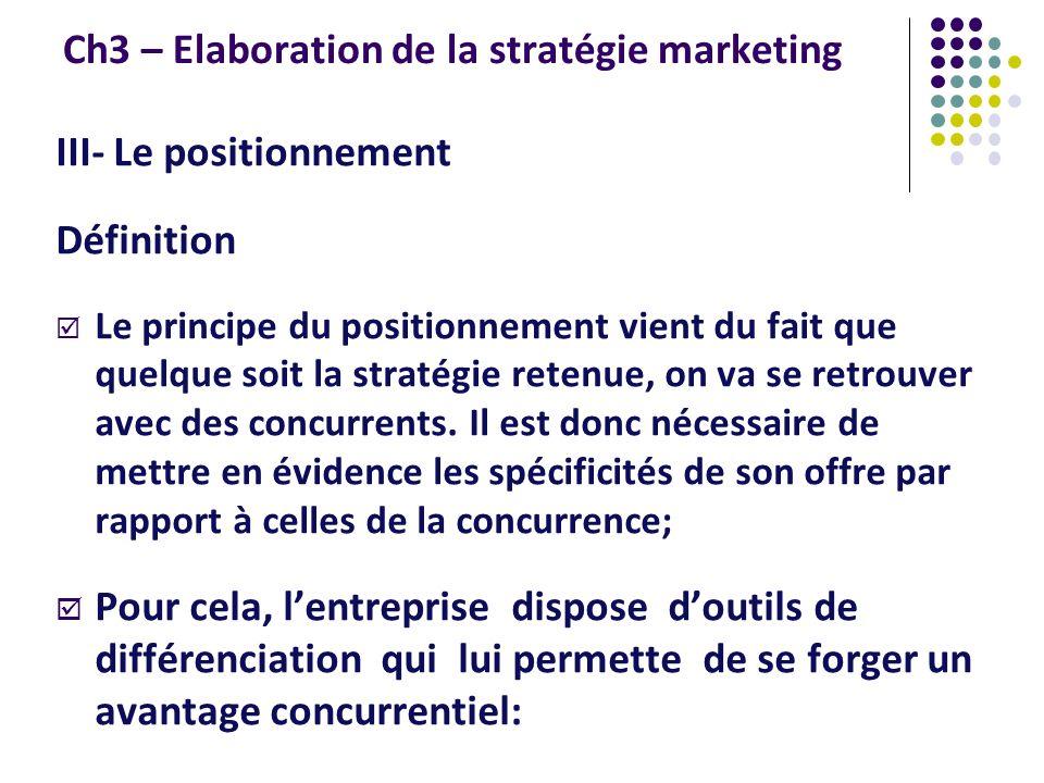 Ch3 – Elaboration de la stratégie marketing III- Le positionnement Définition Le principe du positionnement vient du fait que quelque soit la stratégi