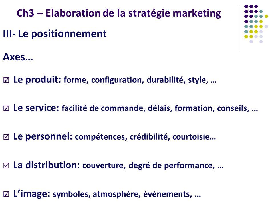 Ch3 – Elaboration de la stratégie marketing III- Le positionnement Axes… Le produit Le produit: forme, configuration, durabilité, style, … Le service: