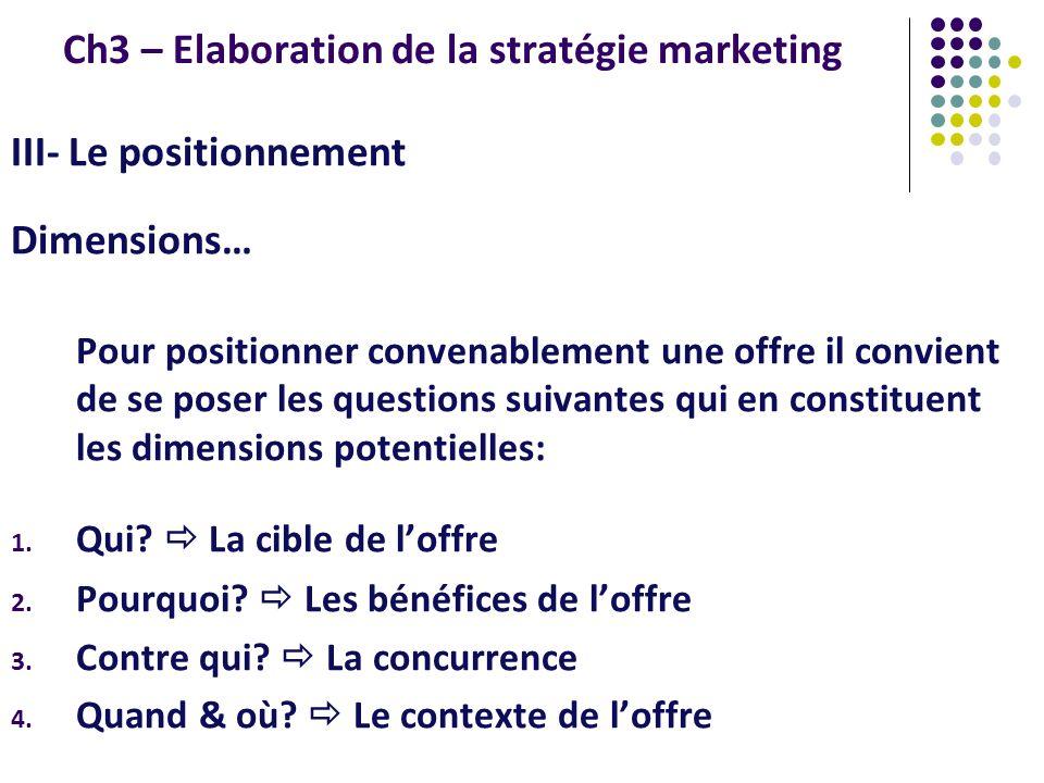 Ch3 – Elaboration de la stratégie marketing III- Le positionnement Dimensions… Pour positionner convenablement une offre il convient de se poser les q