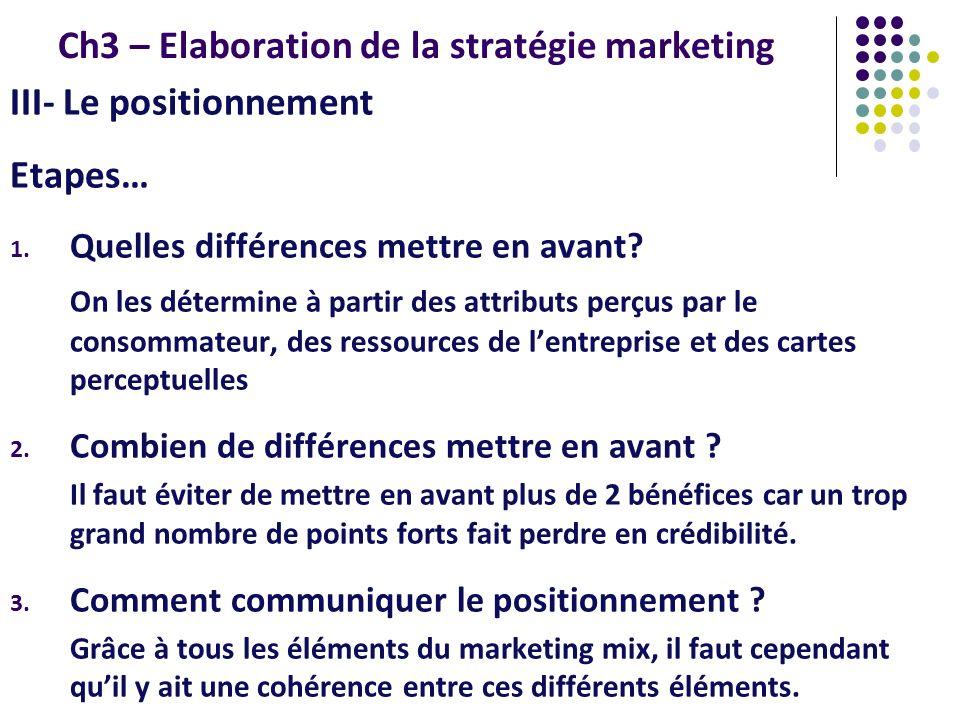 Ch3 – Elaboration de la stratégie marketing III- Le positionnement Etapes… 1. Quelles différences mettre en avant? On les détermine à partir des attri