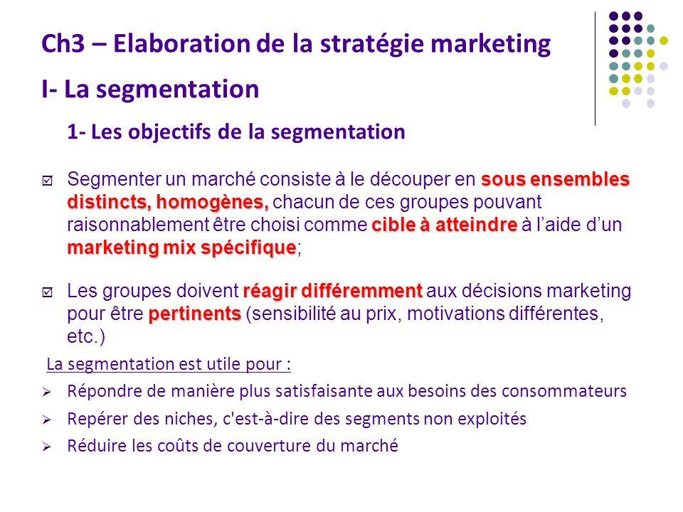 Ch3 – Elaboration de la stratégie marketing I- La segmentation 1- Les objectifs de la segmentation sous ensembles distincts, homogènes, cible à attein