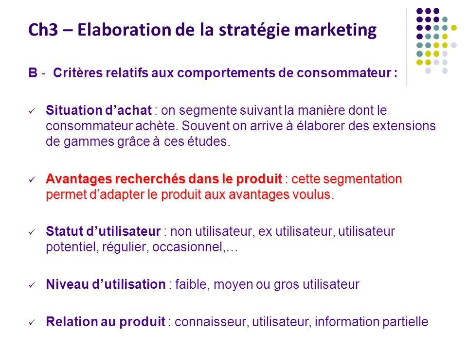 Ch3 – Elaboration de la stratégie marketing B - Critères relatifs aux comportements de consommateur : Situation dachat : on segmente suivant la manière dont le consommateur achète.