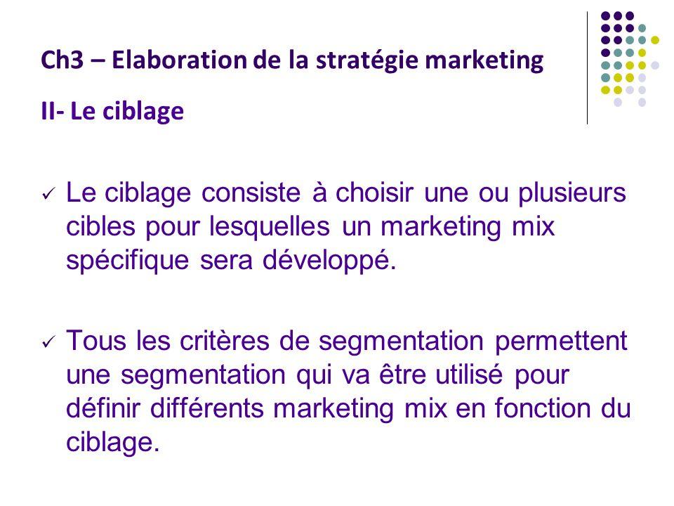 Ch3 – Elaboration de la stratégie marketing II- Le ciblage Le ciblage consiste à choisir une ou plusieurs cibles pour lesquelles un marketing mix spécifique sera développé.