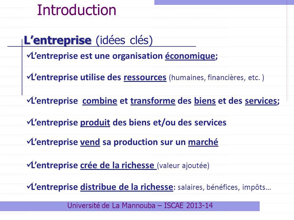 Lentreprise est une organisation économique; Lentreprise utilise des ressources (humaines, financières, etc.